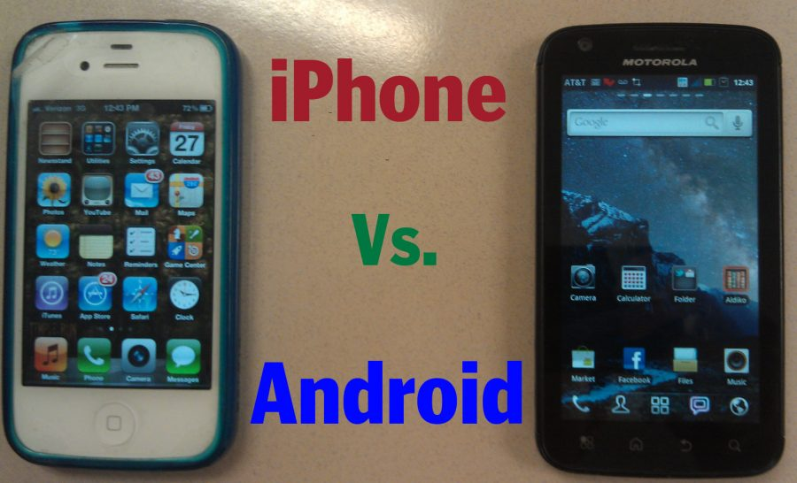 The+iPhone+and+Android+phones+are+very+similar+in+almost+every+aspect+as+each+boasts+different+advantages+and+disadvantages.+--Graphic+by+Robert+Lee