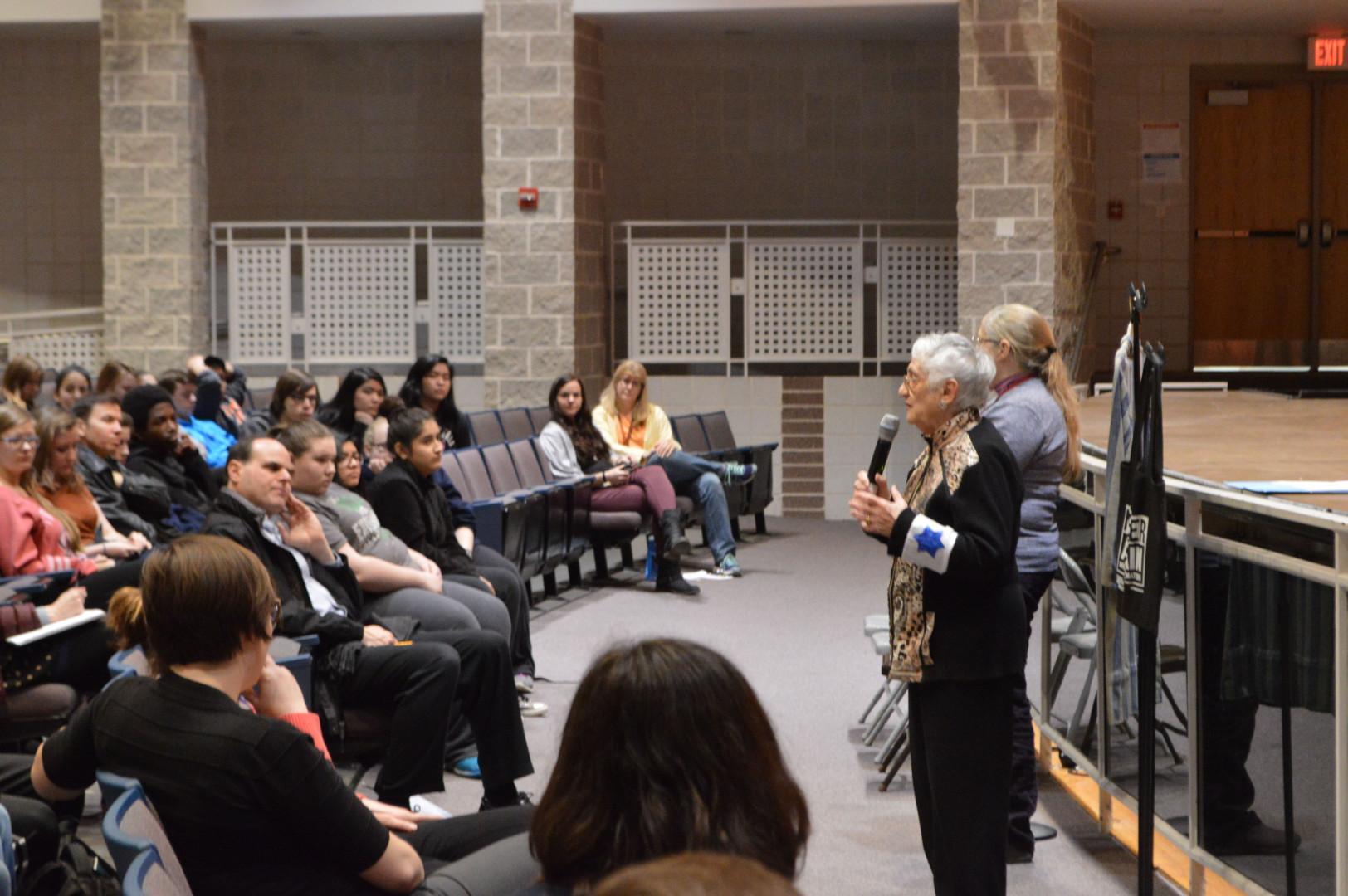 Holocaust survivor Edith Lowy speaks to RHS students Feb. 23.