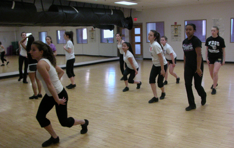 Pom's practice for county competition. --Photo taken by Kelsie Hegarty