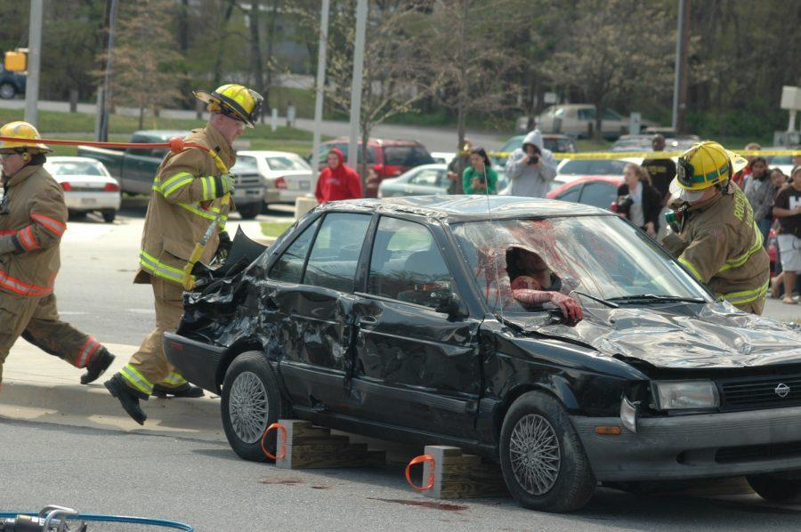 Fire fighters are called in to open the car with Jaws of Life. -- Kai Tshikosi