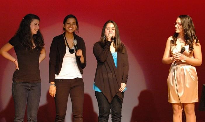Ram Idol MCs congratulates winner Genevieve Durbroof. -- Nursena Acar