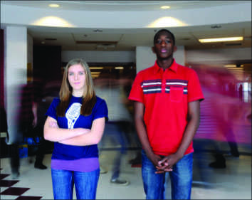 Sophomores Marisa Clery and Kevin Traore are running for SMOB. -- Photo by Anne Wagner