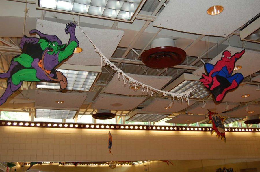Among+the+vast+array+of+decoration+for+after+prom%2C+cutouts+of+Spiderman+and+the+Green+Goblin+were+features+hanging+from+the+ceiling.+--+Photo+by+Jessica+Bauer%2C+RHS+parent
