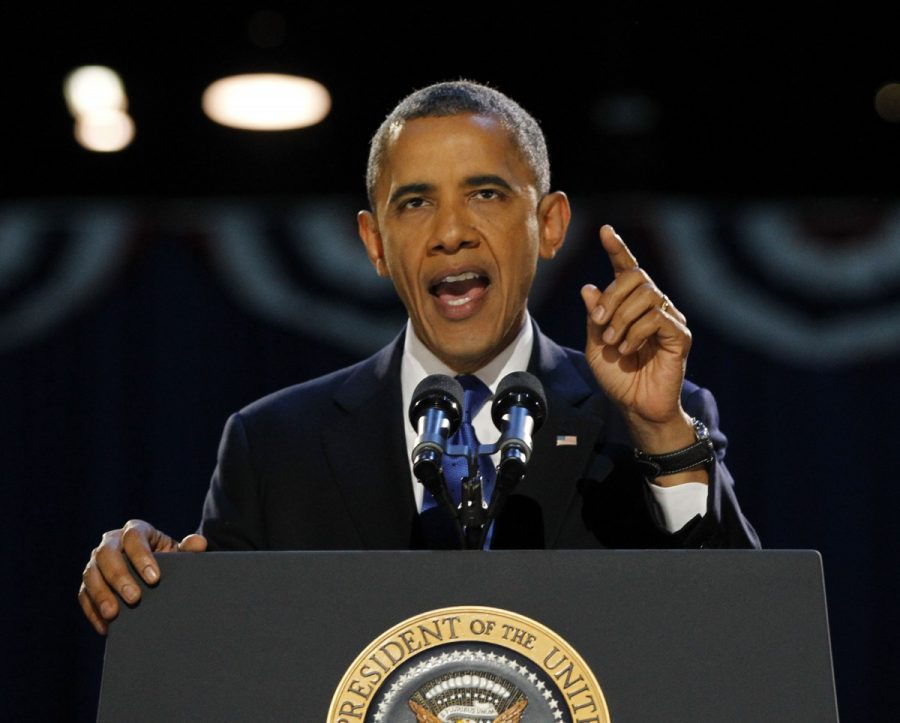 President+Barack+Obama+speaks+to+supporters+at+his+election-night+headquarters+as+he+celebrates+his+re-election+on+Wednesday%2C+November+7%2C+2012%2C+in+Chicago%2C+Illinois.+%28Brian+Cassella%2FChicago+Tribune%2FMCT%29+--Courtesy+of+MCT+Campus