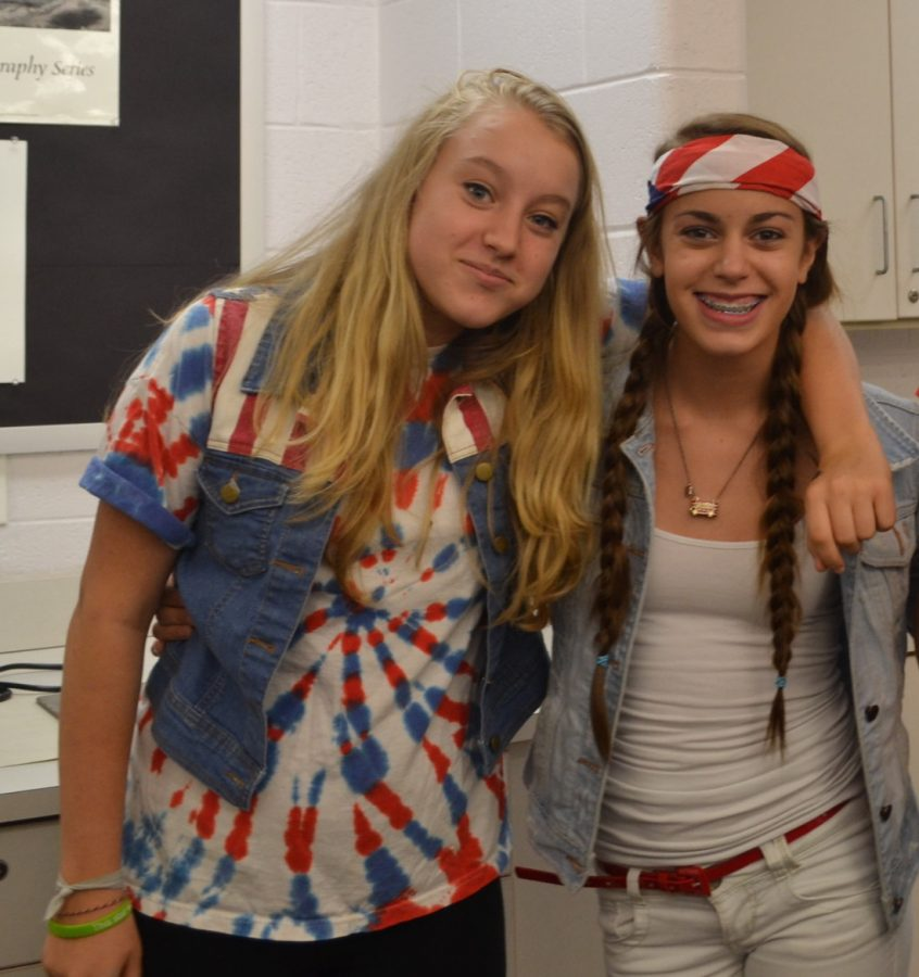 Sophomores+Kate+Horwich+and+Samatha+Dellenoci+show+of+their+US+spirit+on+USA+day.