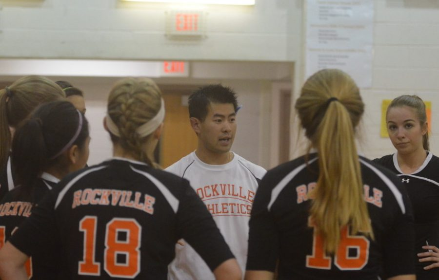 Varsity+volleyball+coach+Sean+Pang+motivates+the+team+during+a+match+against+Gaithersburg+High+school+Sept.+24.+The+Lady+Rams+look+to+catch+their+stride+in+their+upcoming+matches+and+gain+momentum+going+into+their+final+stretch+of+the+season.+--Adam+Bensimhon