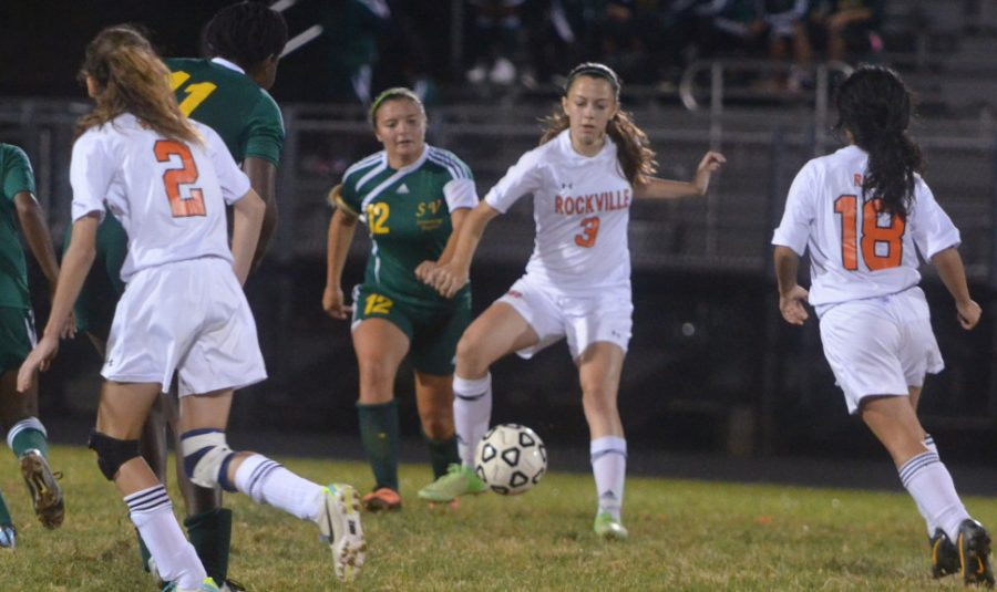 Junior Sophia Dillon cuts off a defender in a regular season game vs. Seneca Valley HS , who they later beat in the first round of playoffs. --Adam Bensimhon
