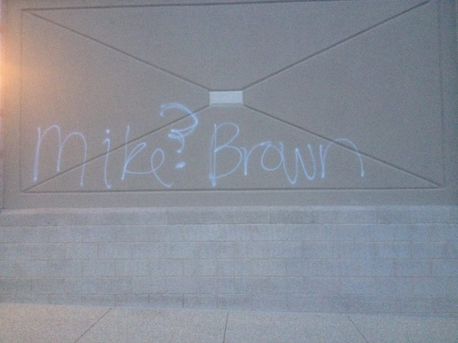 Graffiti+referring+to+Ferguson+marks+the+streets+of+Rockville.+The+wall+of+Safeway+on+Bauer+Drive+memorializes+Brown%E2%80%99s+name.+--Emily+Shpiece