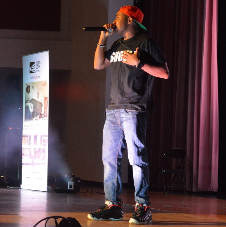 Duane+Myko+made+his+debut+at+RHS+Nov.+19.+He+excited+the+crowd+with+music+and+poetry+in+his+relatable+words.+--Meklit+Bekele