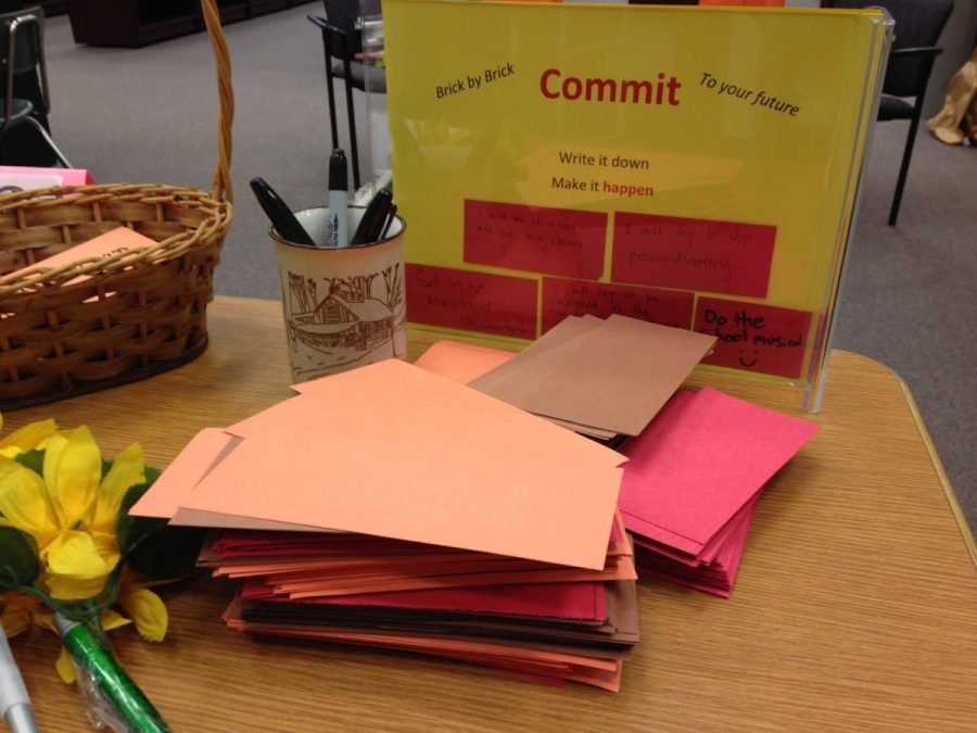 In+the+IMC+the+stack+of+bricks+is+immediately+on+a+table+when+you+enter.+This+encourages+more+students+to+write+their+goals+down.