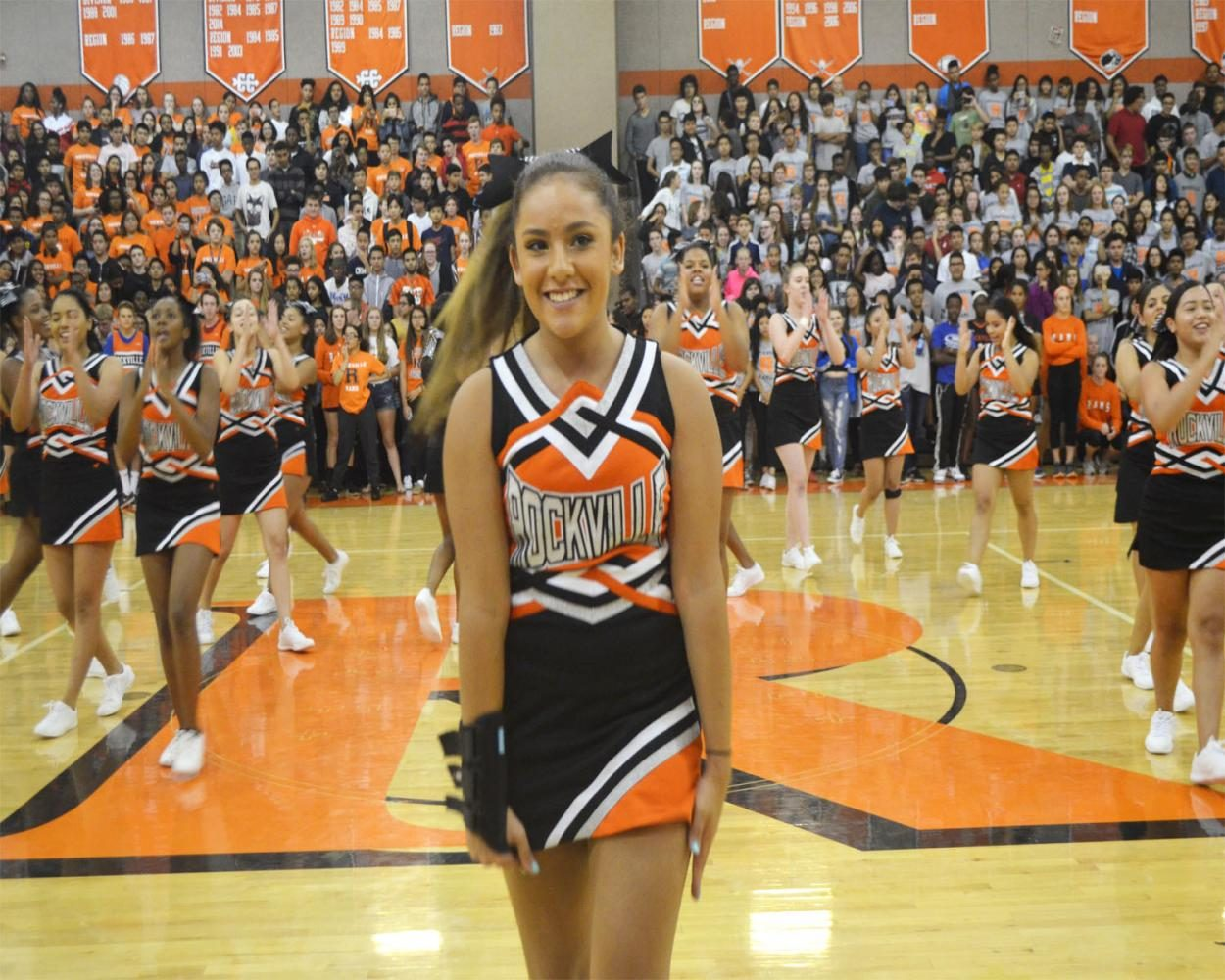 Cheerleaders perform at the pep rally.