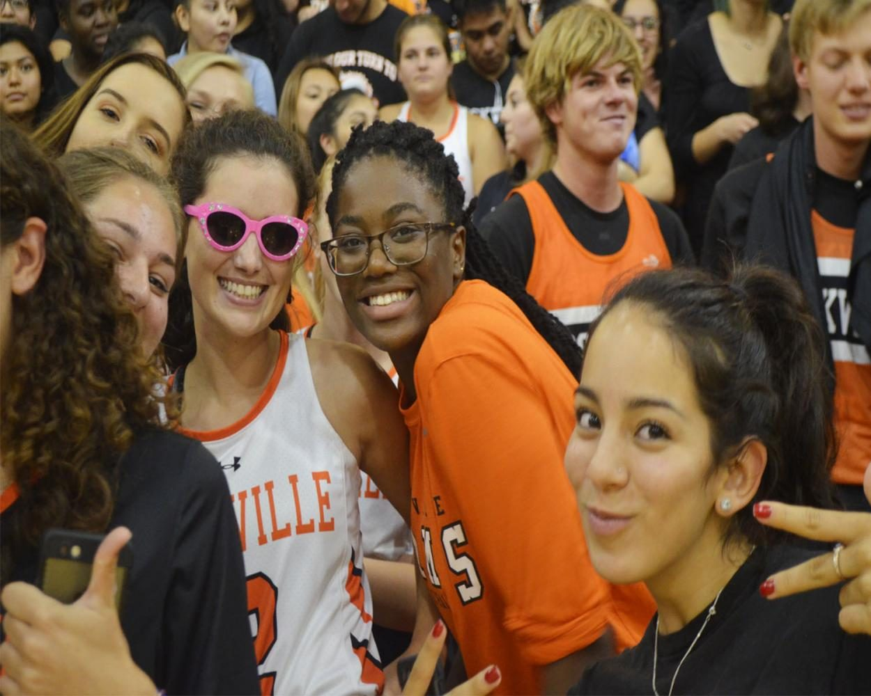 Seniors are all smiles at their last fall pep rally.