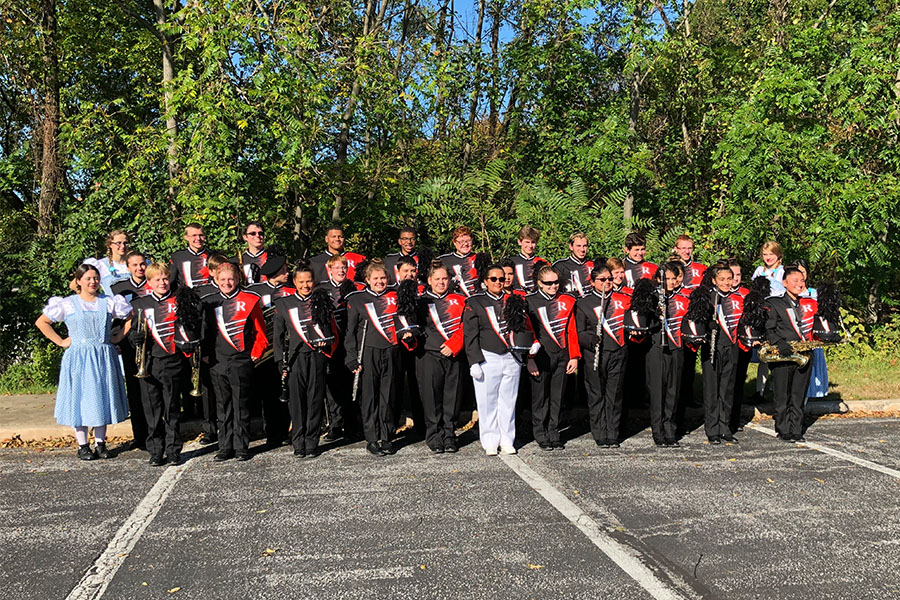 The RHS Band takes a picture after their competition in Annapolis  Oct. 28.  this year they new director Nicole Sherlock is guiding the band.