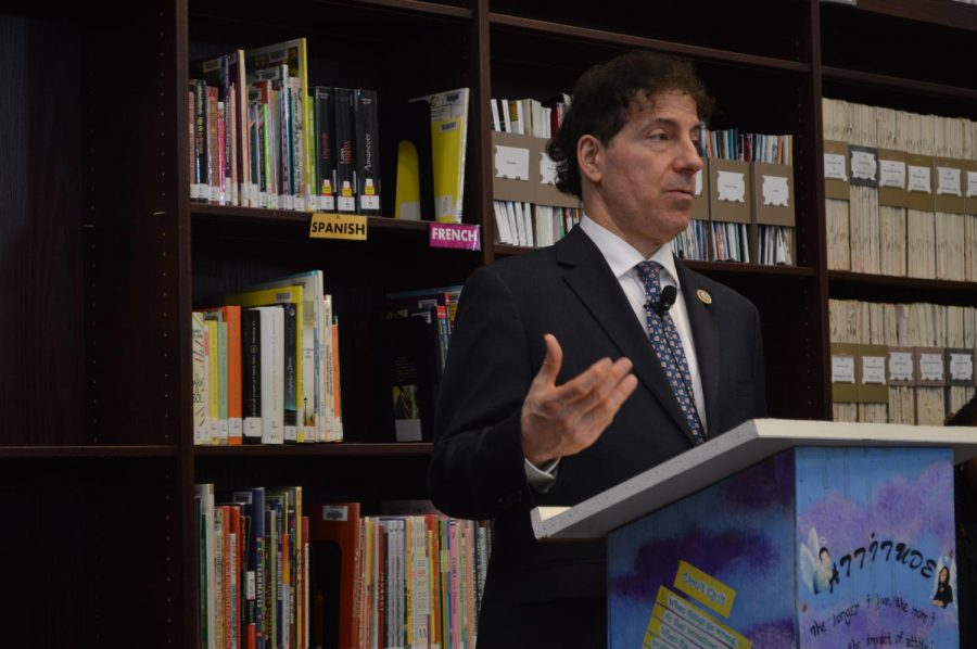 Congressman Jamie Raskin spoke at the IMC after meeting with student marching on capital hill.