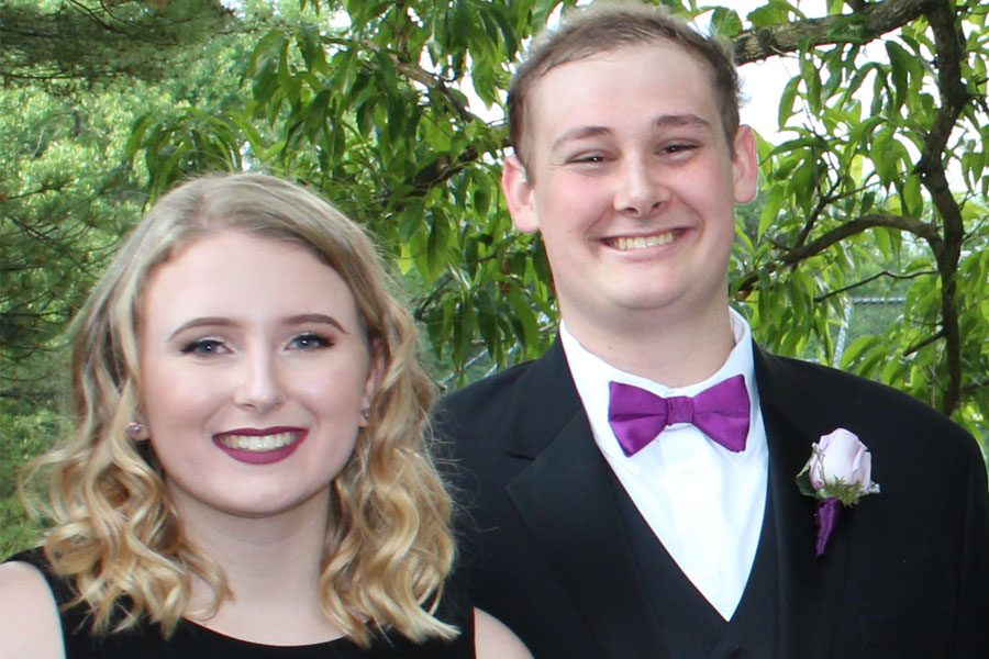 Longtime girlfriend Alicia O'Neil ('17) poses with David Robbins ('17) before prom last year, May 19, 2017, where they won prom king and queen. Robbins passed away Nov. 30, 2017.