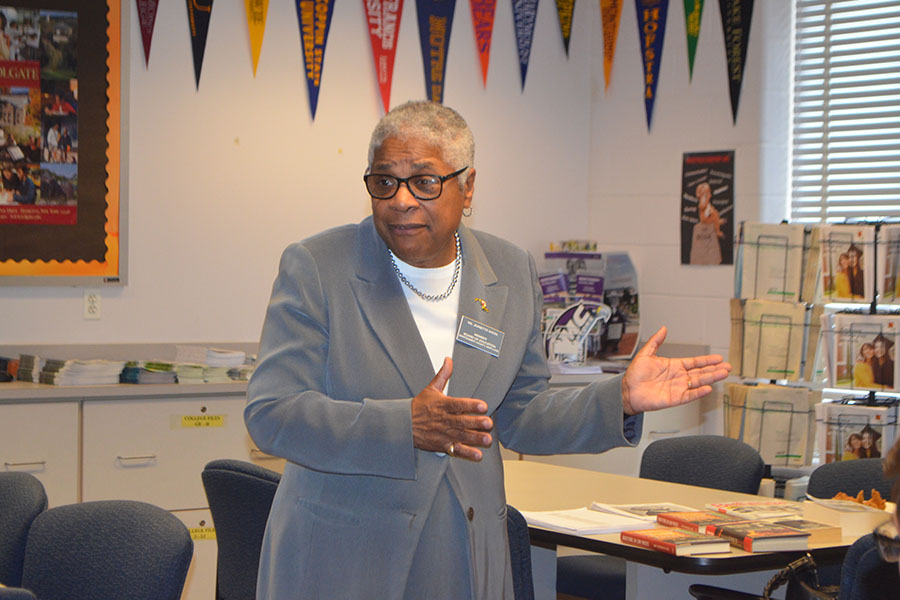 BOE member Jeanette Dixon speaks to the Black Student Union in the career center.