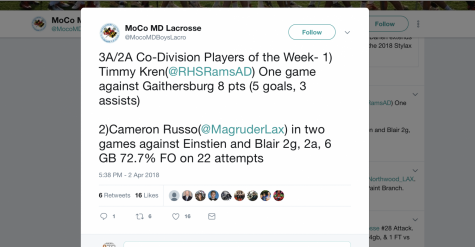 Freshman Awarded Montgomery County Lacrosse Player of the Week