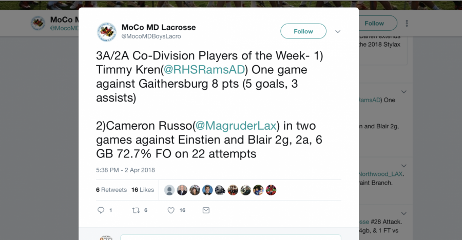 Tweet from @MocoMDBoysLacro awarding Kren player of the week
