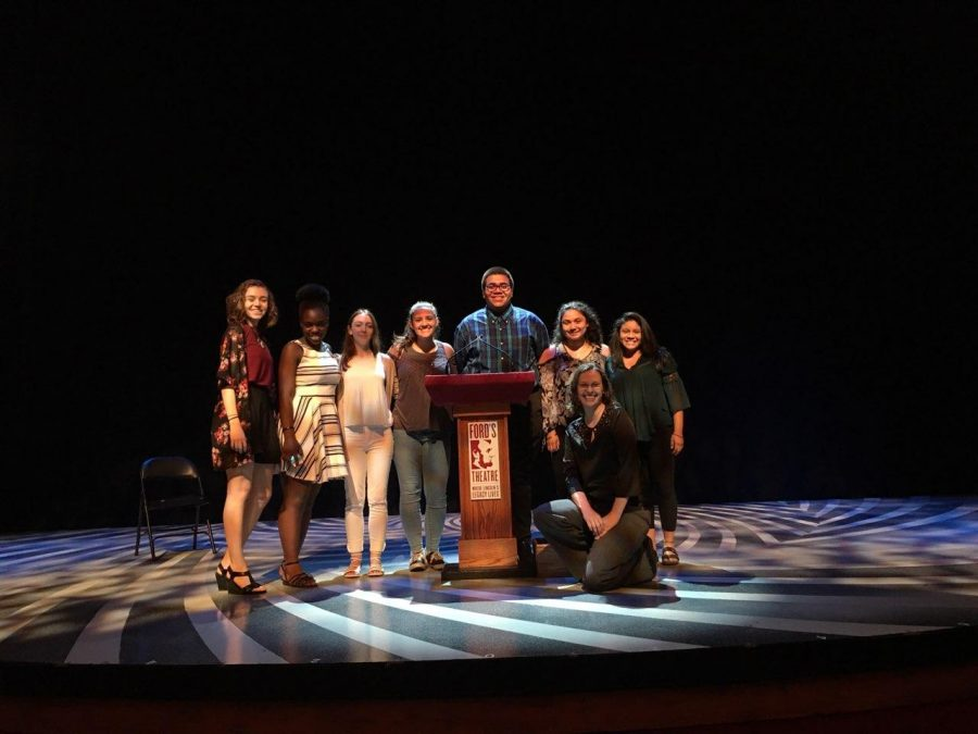 AP Lang juniors stand with English teacher Krista McKim on the Ford's Theatre stage where they delivered speeches at the Oratory Festival May 21.