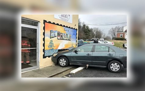 The aftermath of a car driving through a wall of Taste of New Orleans restaurant in Darnestown, MD.