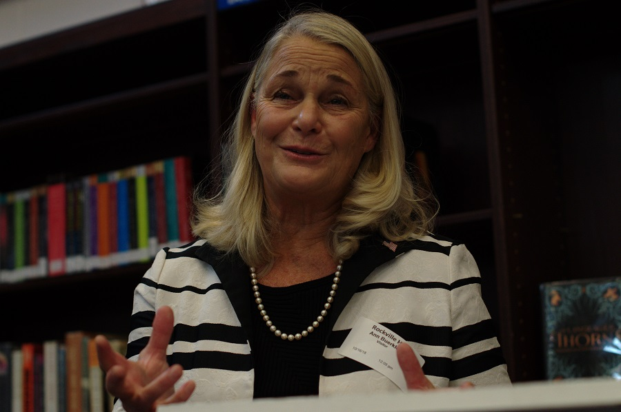 Former Congresswoman Anne Marie Buerkle addresses students in the media center Oct. 16 about recognizing why their voice matters in the political process.