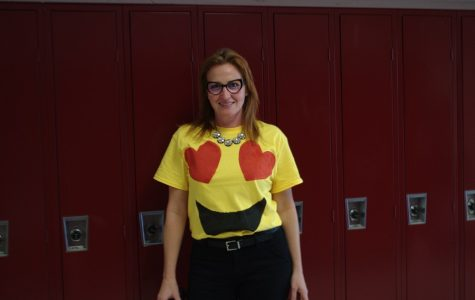 Assistant principal Elizabeth Sandall dressed up as an emoji for Halloween.