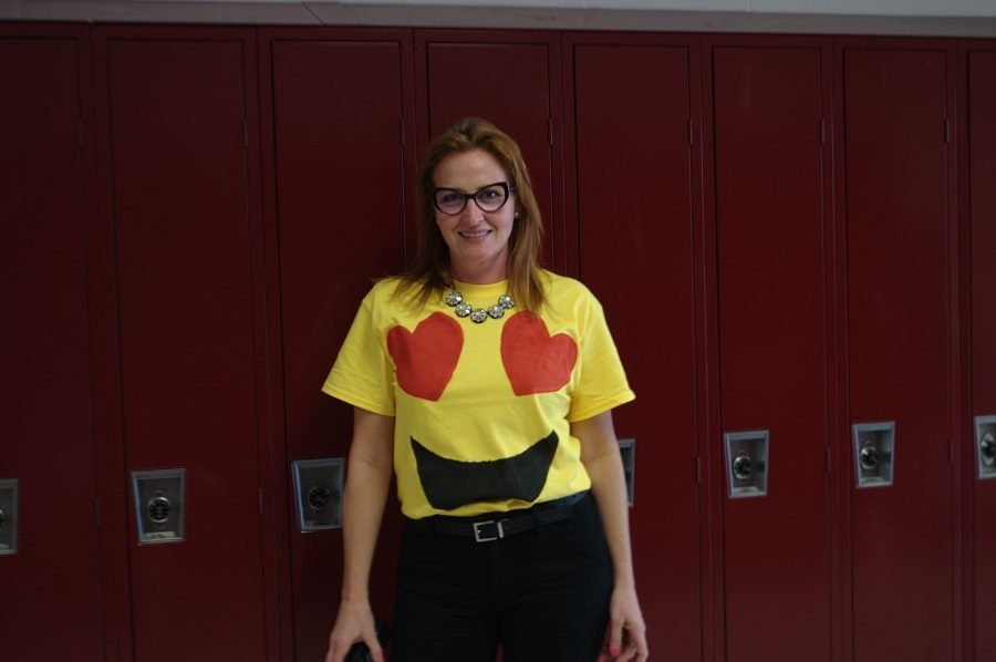 Assistant+principal+Elizabeth+Sandall+dressed+up+as+an+emoji+for+Halloween.