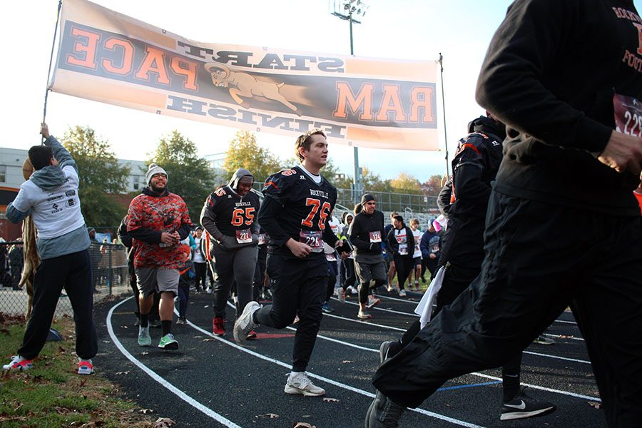 The Rockville football team ran the race as a pack as a team bonding activity. The Runners began the race in high spirits.