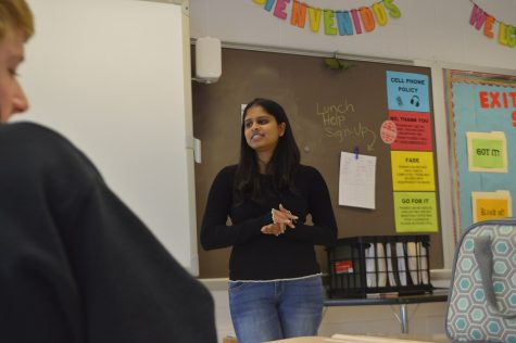 Student member of the board Ananya Tadikonda speaks to students Dec. 6 about pressing issues in MCPS.  Tadikonda said she hoped to visit all high schools to answer student questions and address concerns.