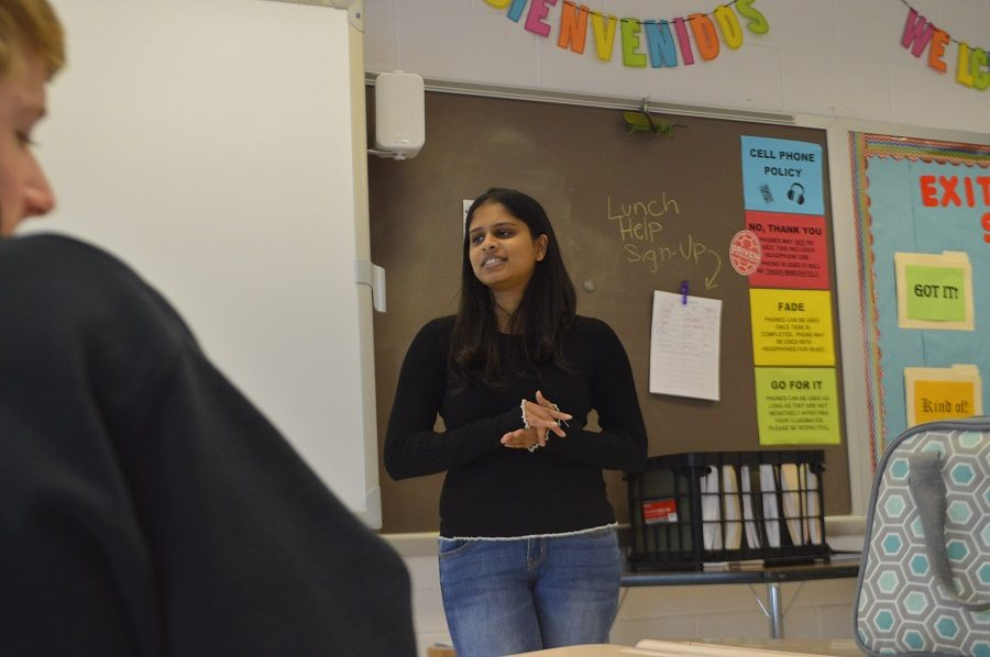 Student+member+of+the+board+Ananya+Tadikonda+speaks+to+students+Dec.+6+about+pressing+issues+in+MCPS.++Tadikonda+said+she+hoped+to+visit+all+high+schools+to+answer+student+questions+and+address+concerns.