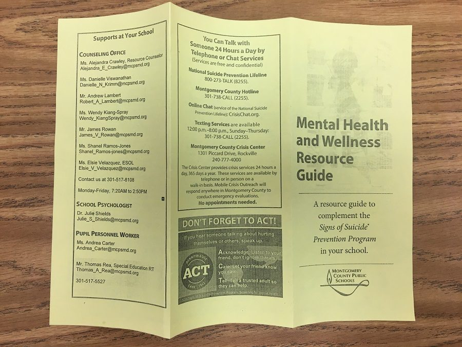 Pamphlets with information on suicide prevention and help numbers are provided to students.  Counselors presented and led discussions on suicide prevention with freshmen, sophomores and juniors.  They will present to seniors in the spring.