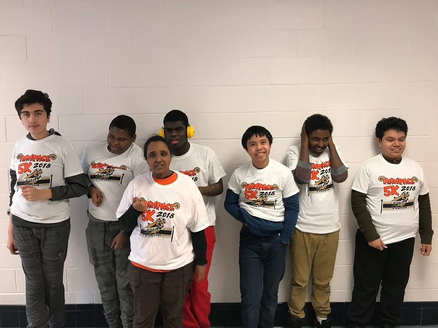 Students from Autism program instructor Caitlin Wise's class wear their new Rampace shirts given as a gift by the Rampage.  The Rampace 5k was held Nov. 17 at the RHS track.