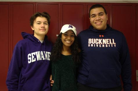 Seniors Stefan Piedrasanta, Emily Weerasinghe and Christian Melgar (left to right) have all been named Posse Scholars and will receive full tuition scholarships to either Sewanee University of the South or Bucknell University. All three have been involved in various extracurriculars throughout high school.