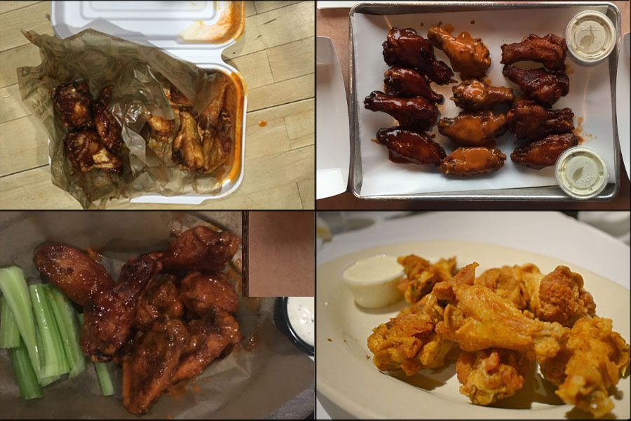 Top left: Buffalo and Hickory Smoked wings from WIngstop. Top Right: Urban BBQ  Dragon Honey and Buffalo Wings. Bottom left: Full On Drafts and Eats Buffalo and Mumbo sauce wings.  Bottom left: Old Bay wings from Outta the Way Cafe