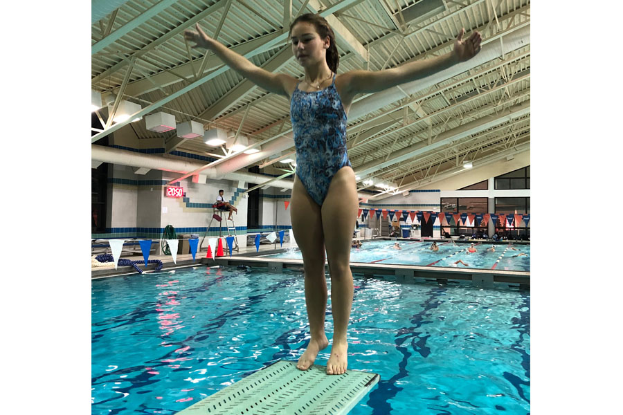 Freshman Callie Borda (above) and sophomore Emily Reynolds qualified for the Washington Metropolitan Interscholastic Swimming and Diving Championships (Metros), a meet with participants from all public and private schools in the District of Columbia, Maryland and Virginia area