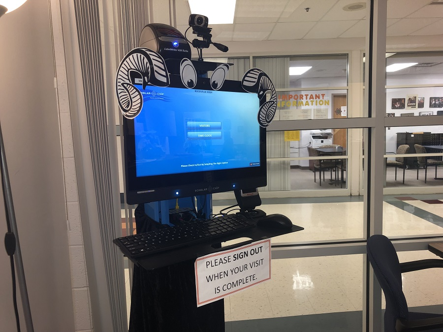 The new visitor sign-in machine located in the main office.  The machines have been installed in schools throughout the county.