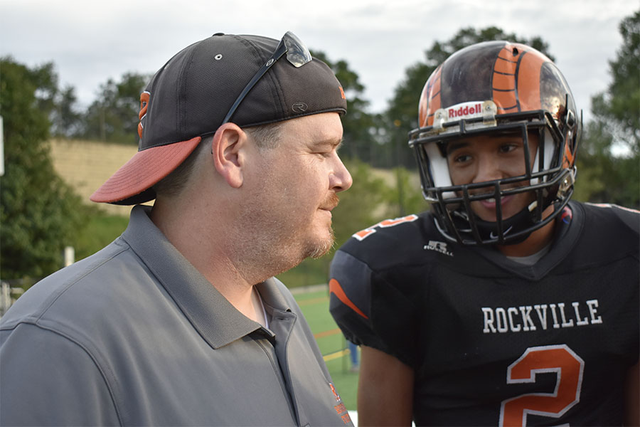 Head varsity football coach and child development teacher Jason Lomax ('97) returned to RHS after three years coaching at Springbrook HS.