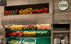 Fresh produce is on display behind the ordering counter. Urban Plates uses only local and ethically sourced ingredients.