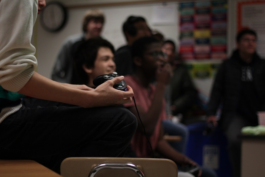 Studnets look on at players during the National Honor Society's Super Smash Bros. tournament March 4-7.