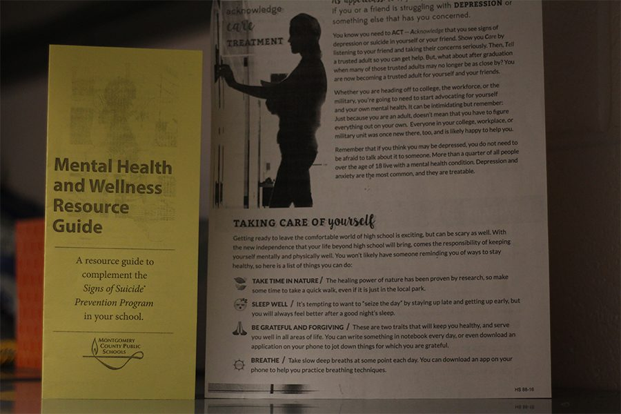 Resource pamphlets handed out to RHS students on how to help others who may be struggling. The presentations took place in the fall for ninth, 10th and 11th graders, and spring for 12th graders.