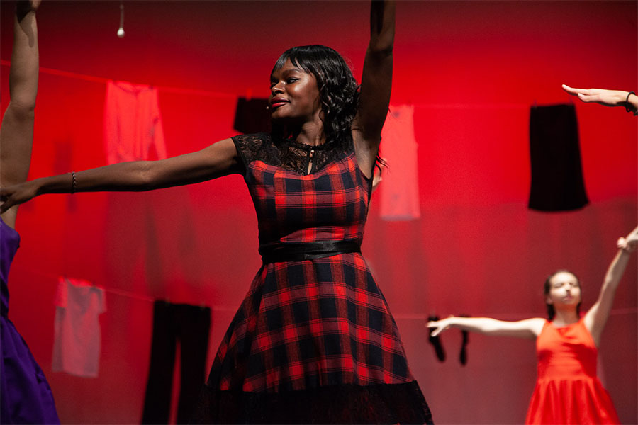 Sophomore Donna Mbulaiteye performs in the spring musical