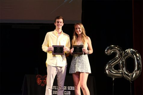 Seniors Matthew DiFonzo and Briana O'Neil pose with their plaques after winning the Model Rams awards for the class of 2019.