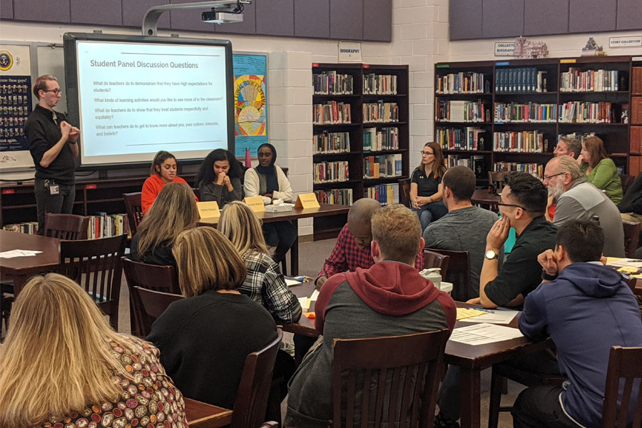 Student leaders in the MSP discuss questions and concerns regarding the school climate during a staff meeting Nov. 18.