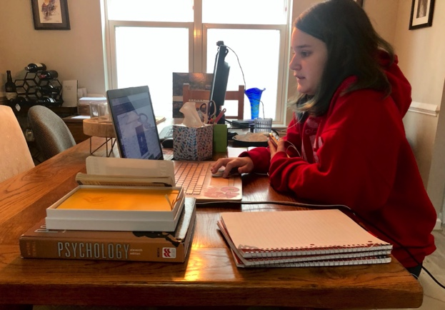RHS Student Miranda Verity (Junior) practicing social distance learning from her home after Montgomery County schools went online.