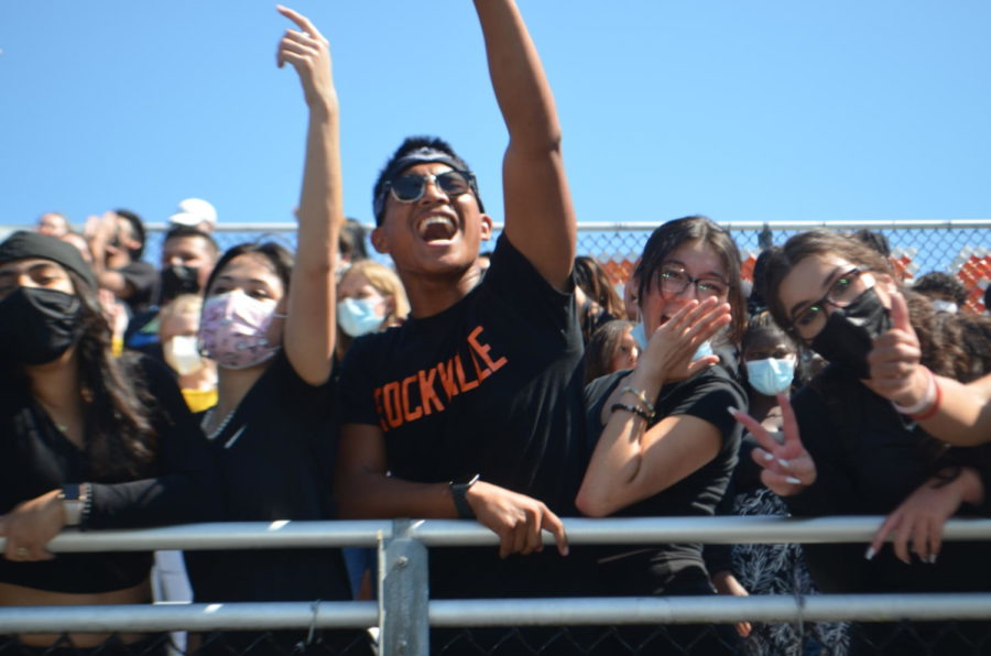 Students+in+the+class+of+2022+cheer+during+the+first+pep+rally+of+the+year.+Despite+the+new+outdoor+venue%2C+the+spirit+of+the+event+remained+the+same.